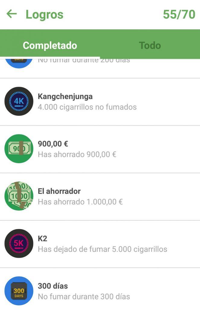 Captura de pantalla de los logros en Quit Now, aplicación para dejar de fumar